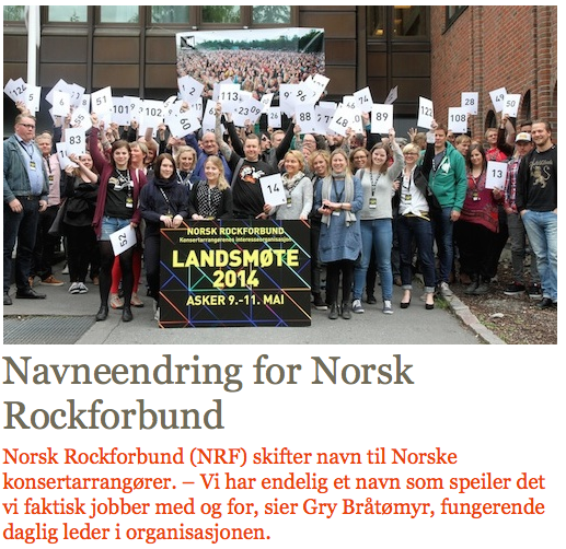 Navneendring for Norsk Rockforbund