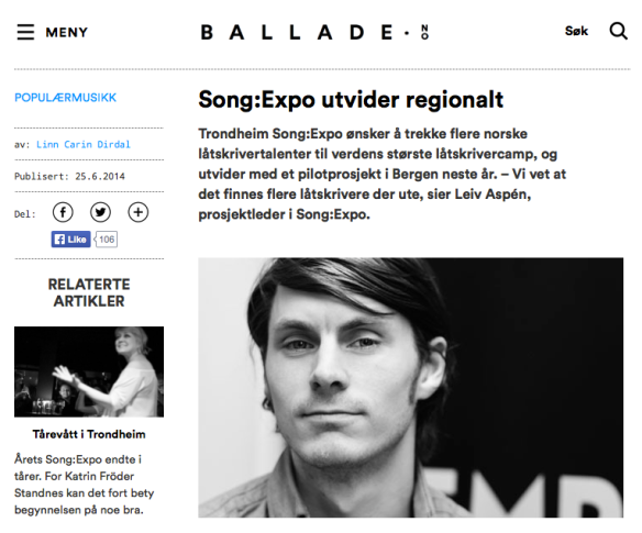 Song:Expo utvider regionalt. Ballade.no