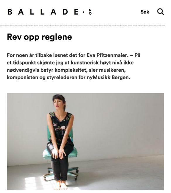 Eva Pfitzenmaier, Ballade.no